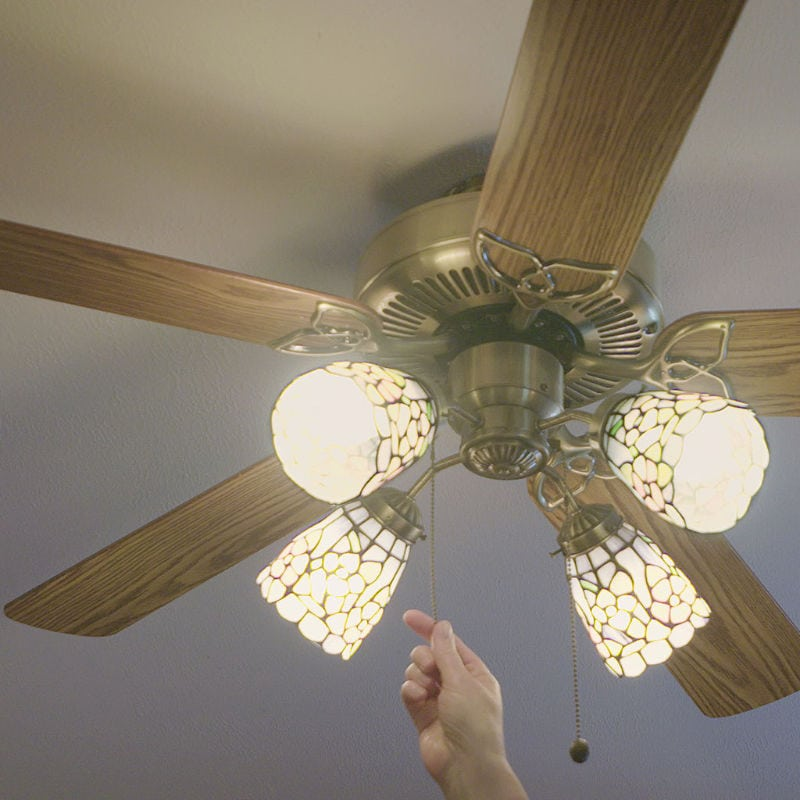 Person Turning on Ceiling Fan