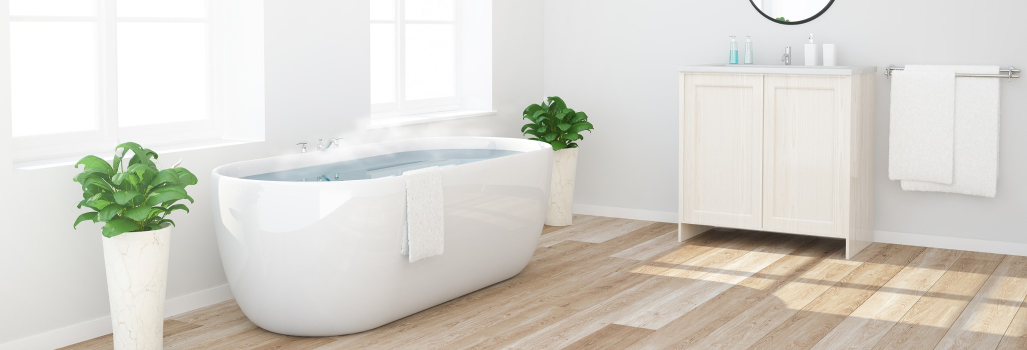 Bathtub with hot water.